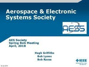Aerospace Electronic Systems Society AES Society Spring Bo