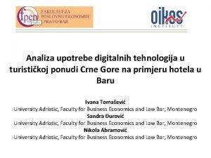 Analiza upotrebe digitalnih tehnologija u turistikoj ponudi Crne