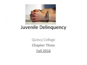 Juvenile Delinquency Quincy College Chapter Three Fall 2016