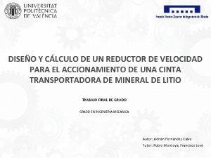 DISEO Y CLCULO DE UN REDUCTOR DE VELOCIDAD