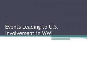 Events Leading to U S Involvement in WWI