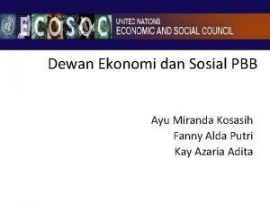 Dewan Ekonomi dan Sosial PBB Ayu Miranda Kosasih