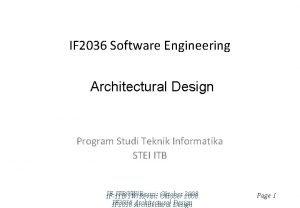 IF 2036 Software Engineering Architectural Design Program Studi