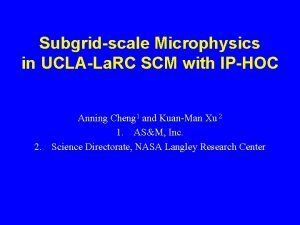 Subgridscale Microphysics in UCLALa RC SCM with IPHOC