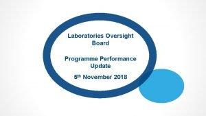Laboratories Oversight Board Programme Performance Update 5 th
