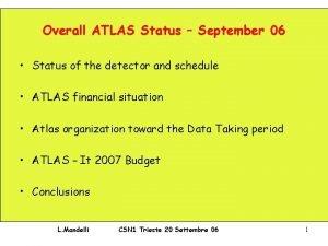 Overall ATLAS Status September 06 Status of the