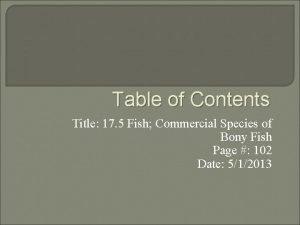 Table of Contents Title 17 5 Fish Commercial