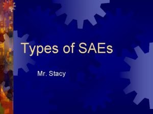 Types of SAEs Mr Stacy An SAE is