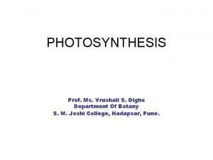 PHOTOSYNTHESIS Prof Ms Vrushali S Dighe Department Of