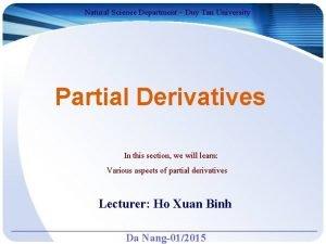 Natural Science Department Duy Tan University Partial Derivatives