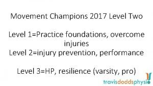 Movement Champions 2017 Level Two Level 1Practice foundations