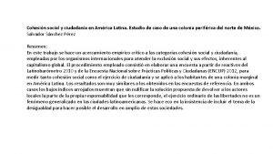 Cohesin social y ciudadana en Amrica Latina Estudio