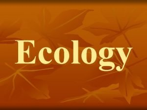 Ecology Ecology is the study of the interactions