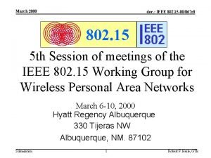 March 2000 doc IEEE 802 15 00067 r