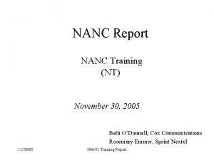 NANC Report NANC Training NT November 30 2005