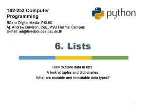 142 253 Computer Programming BSc in Digital Media