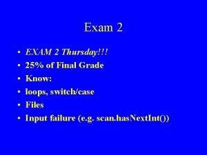 Exam 2 EXAM 2 Thursday 25 of Final