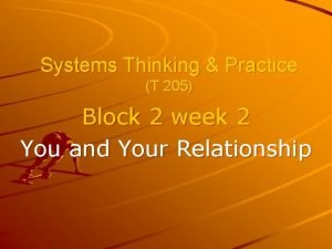 Systems Thinking Practice T 205 Block 2 week