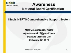 Illinois State University Awareness National Board Certification Illinois