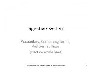 Digestive System Vocabulary Combining forms Prefixes Suffixes practice