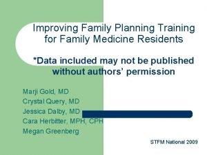 Improving Family Planning Training for Family Medicine Residents