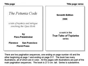 Title page The Petunia Code Title page verso