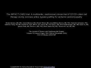 The IMPACTCABG trial A multicenter randomized clinical trial