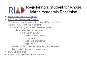 Registering a Student for Rhode Island Academic Decathlon