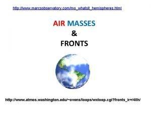 http www marcsobservatory commowhatsithemispheres html AIR MASSES FRONTS