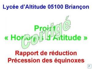 Lyce dAltitude 05100 Brianon Projet Horloges dAltitude Rapport