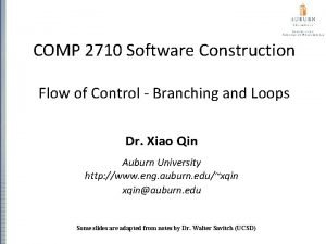 COMP 2710 Software Construction Flow of Control Branching