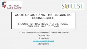 CODECHOICE AND THE LINGUISTIC SOUNDSCAPE LINGUISTIC PRACTICES IN