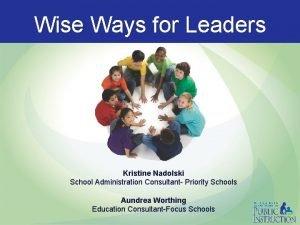 Wise Ways for Leaders Kristine Nadolski School Administration