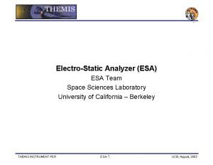 ElectroStatic Analyzer ESA ESA Team Space Sciences Laboratory