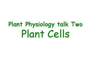 Plant Physiology talk Two Plant Cells Overview of