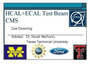 HCALECAL Test Beam CMS Zoe Downing Advisor Dr