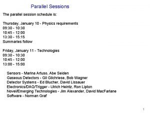 Parallel Sessions The parallel session schedule is Thursday