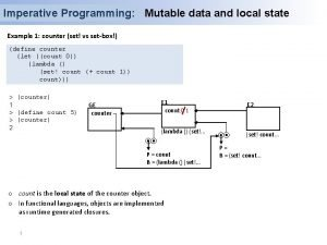 Imperative Programming Mutable data and local state Example