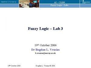 AI CS 289 Fuzzy Logic Labs Fuzzy Logic