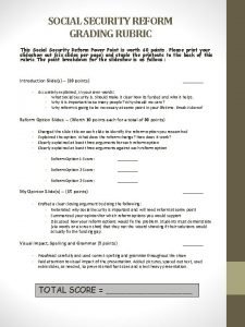 SOCIAL SECURITY REFORM GRADING RUBRIC This Social Security