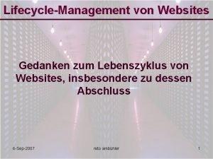 LifecycleManagement von Websites Gedanken zum Lebenszyklus von Websites