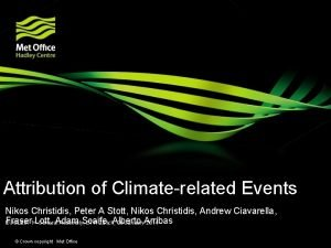 Attribution of Climaterelated Events Nikos Christidis Peter A