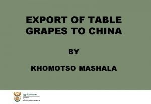 EXPORT OF TABLE GRAPES TO CHINA BY KHOMOTSO