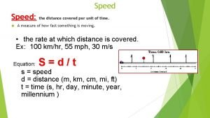 Speed the distance covered per unit of time