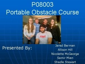 P 08003 Portable Obstacle Course Presented By Jared