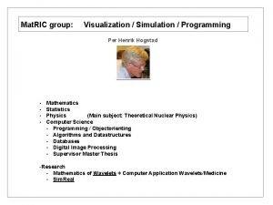 Mat RIC group Visualization Simulation Programming Per Henrik