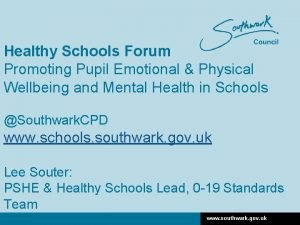Healthy Schools Forum Promoting Pupil Emotional Physical Wellbeing