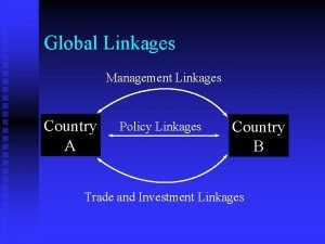 Global Linkages Management Linkages Country A Policy Linkages
