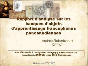 Rapport danalyse sur les banques dobjets dapprentissage francophones