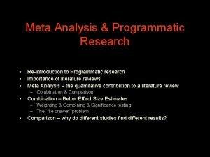 Meta Analysis Programmatic Research Reintroduction to Programmatic research